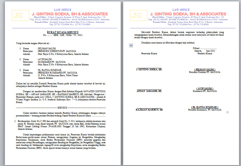 Contoh Surat Kuasa Hukum Acara Perdata Simak Gambar Berikut