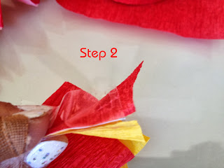 step two tape paper streamers corners
