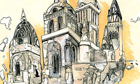 Ilustración, A trip through my brain de Amandine Ben aka Albyky