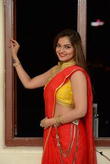 Actress Ashwini Po Shoot Stills In Red Saree With Golden Choli (15).jpg