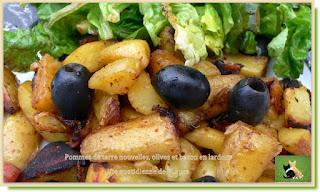 Vie quotidienne de FLaure : Pommes de terre nouvelles, olives et bacon en lardons