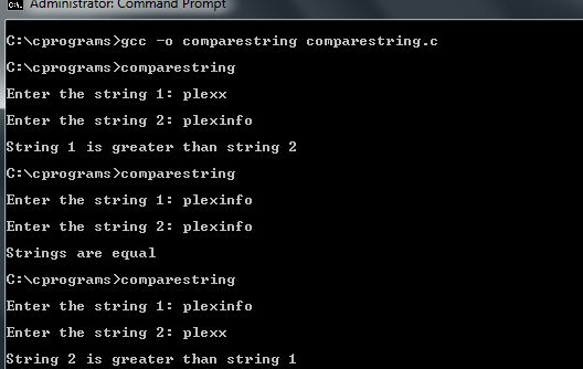 C Program to Compare two Strings without using strcmp() function