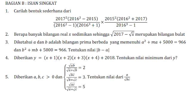 LATIHAN PERSIAPAN OSK MATEMATIKA SMP 2017 KEDUA