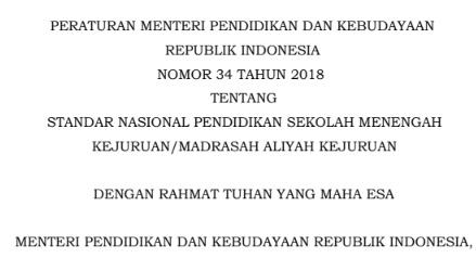 Download Permendikbud No _ Peraturan Menteri Pendidikan Dan Kebudayaan Tentang Standar Nasional Pendidikan Sekolah Menengah Kejuruan Madrasah