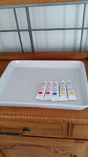 ceramic tray with winsor and newton oil paint