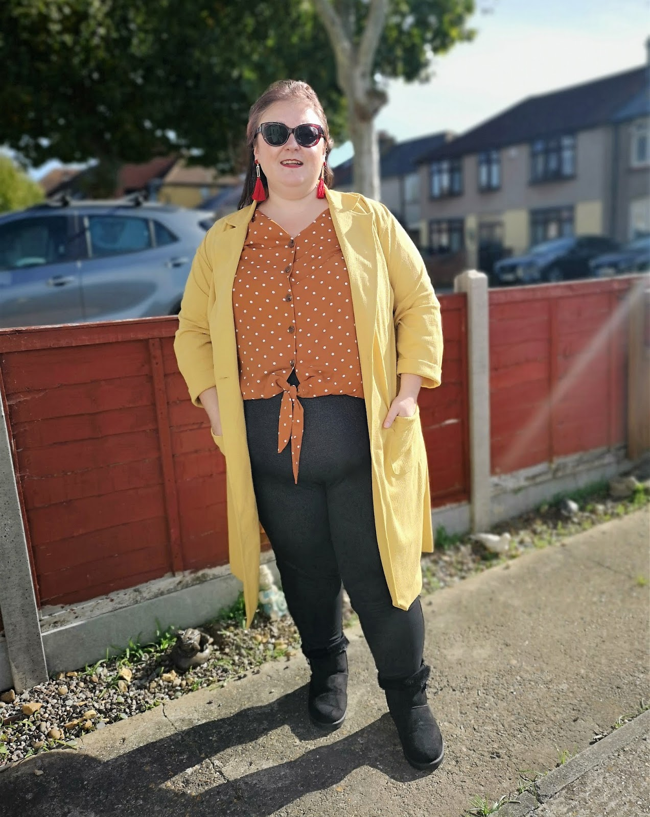 NEW LOOK CURVES MUSTARD CROSS HATCH DUSTER JACKET AUTUMN FASHION // WWW.XLOVELEAHX.CO.UK