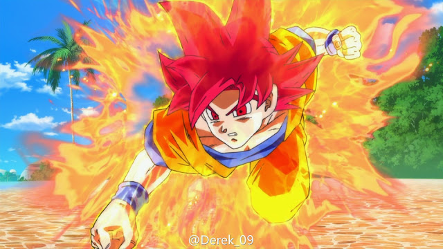 Goku ở trạng thái Super Saiyan God trong Dragon Ball Z : Battle of Gods
