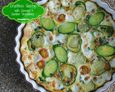 Crustless Quiche with Greens & Garden Vegetables (a master recipe, pictured with Swiss chard, zucchini, tomatillos and fresh mozzarella)