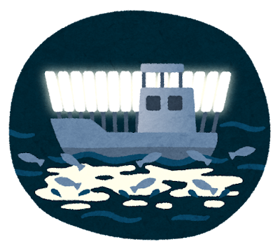 強力な集魚灯のイラスト