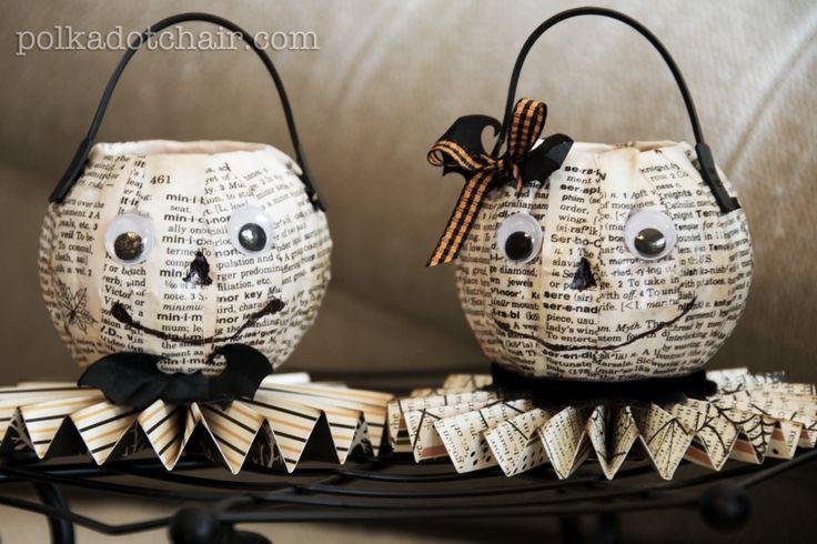 Spooky Halloween Book Page Crafts - Mr. & Mrs. O'Lantern