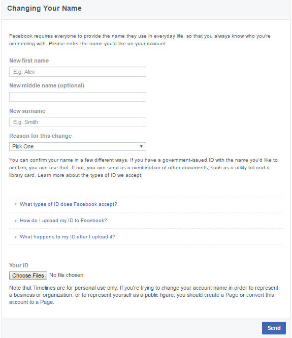 Facebook name change request form