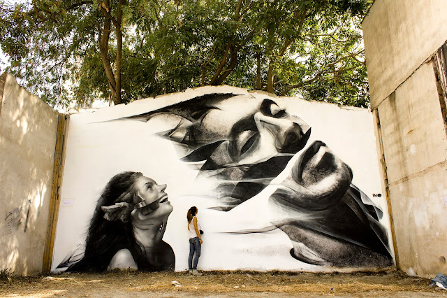 Street Art Collaboration By iNO and George Kavounis In Athens, Greece 4