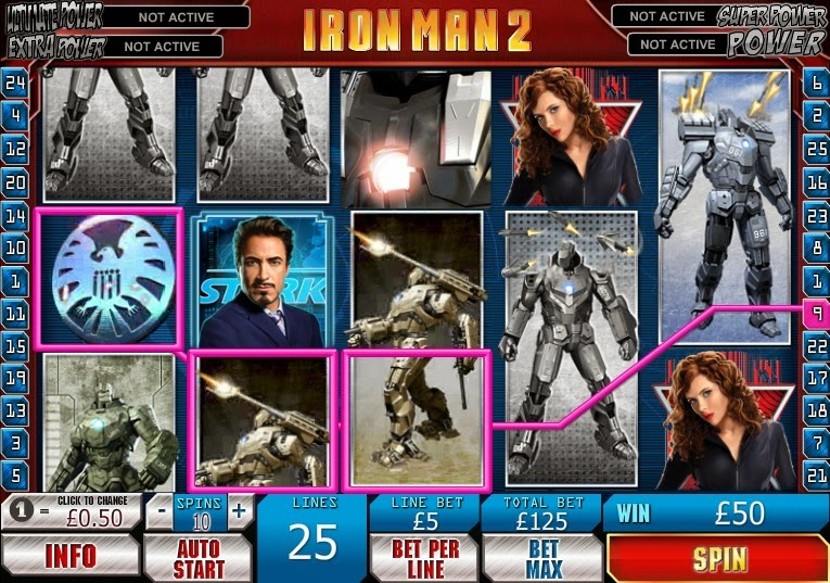 Iron Man 2 Video Slot Screen