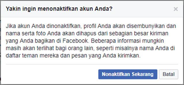 Keyakinan Menonaktifkan Facebook