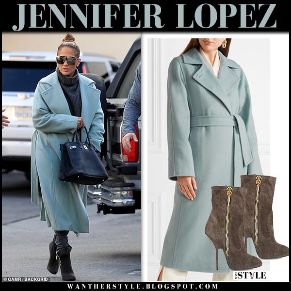 Jennifer Lopez in sky blue max mara coat with black hermes birkin tote winter street style december 22