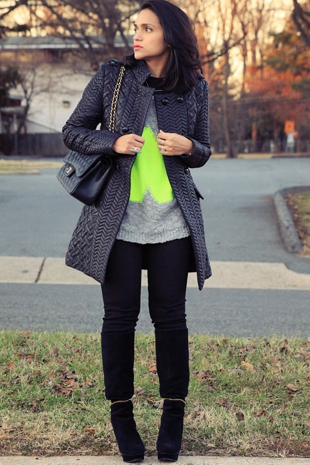 Jacket - Francesca's, Sweater - Villa, Jeans - Joe's, Boots - Donald J. Pliner, Grey Ring - Shop Jami Necklace - via Rocksbox, Tanvii.com