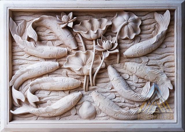 Relief batu alam paras jogja, batu paras putih motif sembilan ikan koi