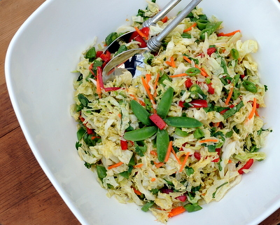 Asian Slaw with Sugar Snap Peas & Almonds, another low-carb summer salad ♥ AVeggieVenture.com. Vegan. Low Cal. Gluten Free. Paleo. Weight Watchers Friendly. Potluck Perfect.