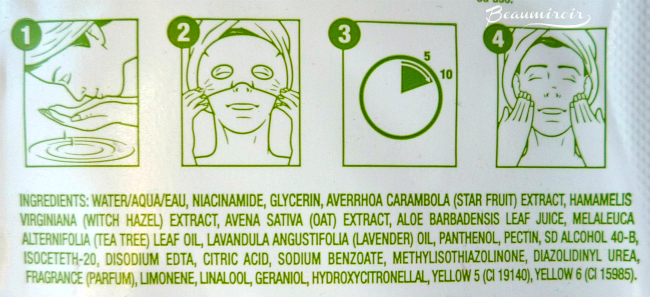 Freeman Purifying Paper Mask Star Fruit ingredients list