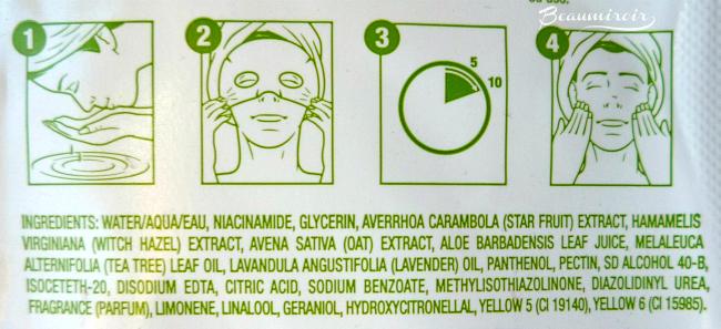 Freeman Purifying Paper Mask Star Fruit ingredients list
