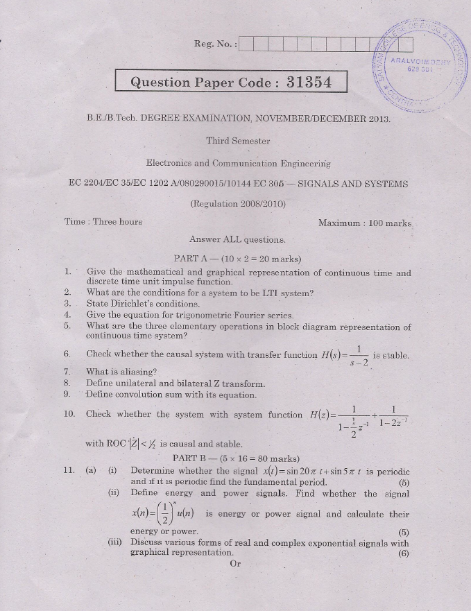 EC2204 Signals and Systems Nov Dec 2013 Question Paper