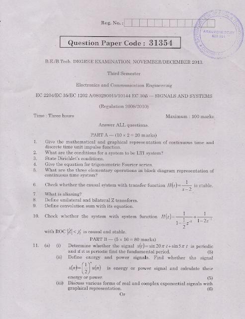 EC2204 Signals and Systems Nov Dec 2013 Question Paper