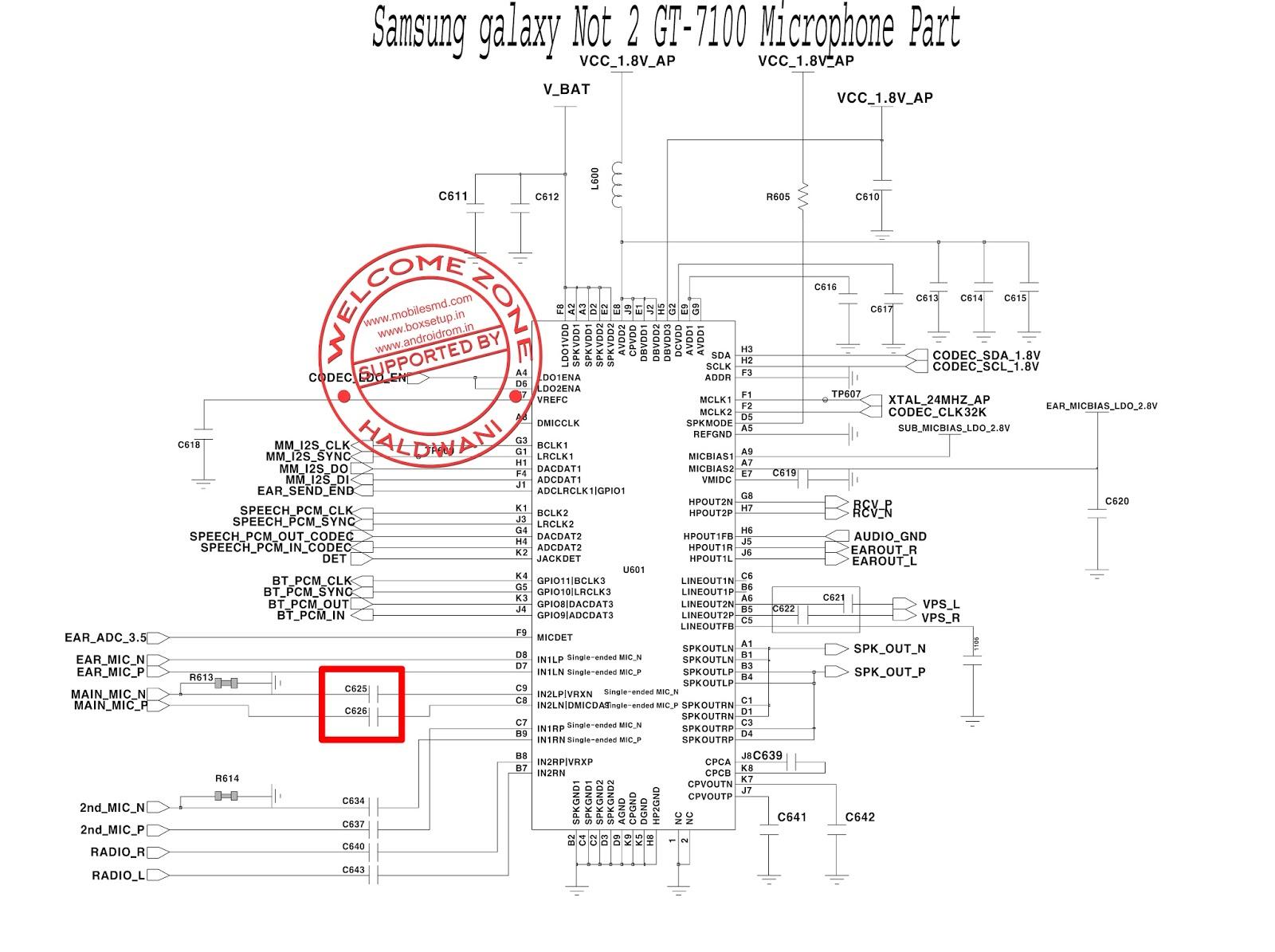 Samsung Galaxy Not 2 Gt 7100 Microphone Part Main Mic
