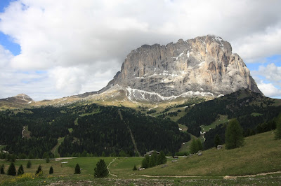 The Lankofel (Sassolungo) Group as seen from Passo Gardena.