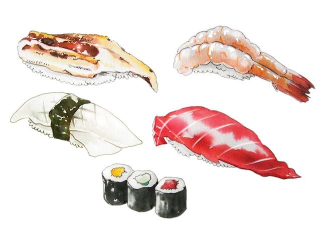 水彩イラスト、食べ物イラスト、観光イラスト、イラストレーター検索、イラストレーター一覧、イラスト制作、水彩画、寿司、和食、イラスト、食べ物、芸者、和装、着物、 人物画、グルメ、