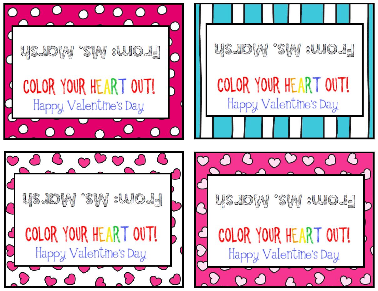 Ms Third Grade Heart Crayon Valentines