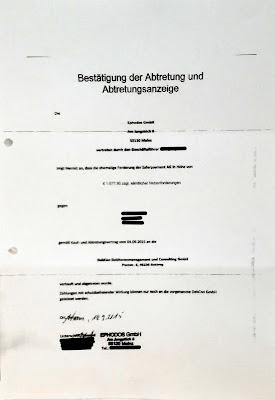 Bestätigung der Abtretung | 14.09.2015 | Debcon GmbH