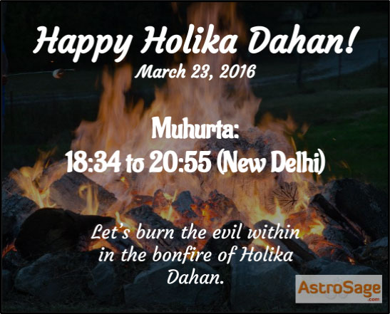 Holika Dahan 2016 Muhurat is here.