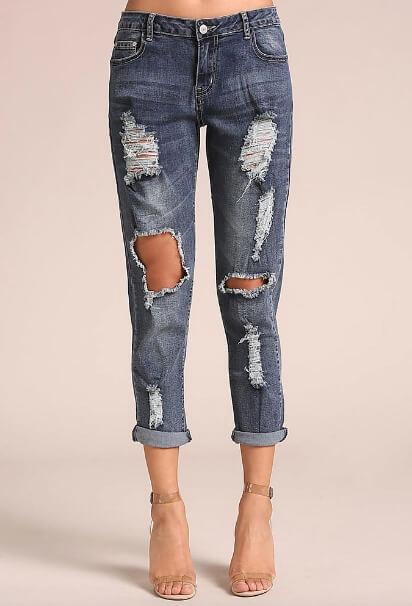 Love Culture denim distressed cut-out low rise jeans
