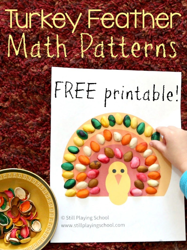 Free turkey printable for kids to practice patterns! Make feathers with cereal, pasta, counters, or pompoms!
