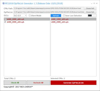 PES 2018 DpFileList Generator v1.3 ( FINAL ) by MjTs-140914