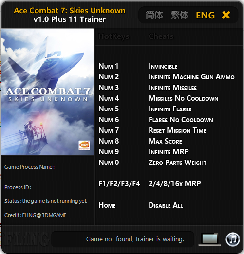 Trainer Cheat Ace Combat 7 Skies Unknown PC