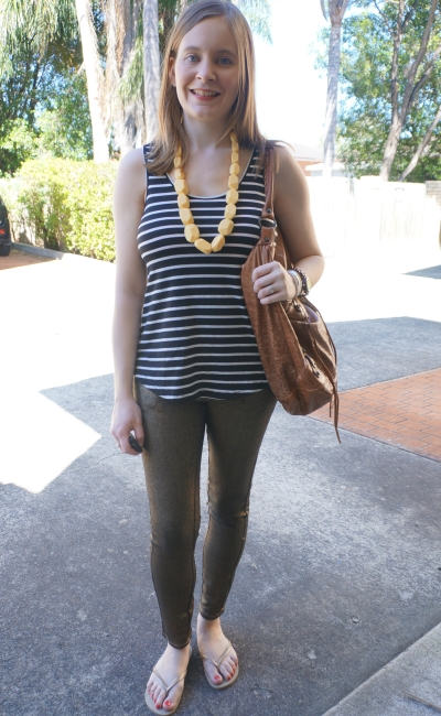 striped tank Sass and BIde metallic gold skinny jeans Balenciaga Day Bag   Away From Blue