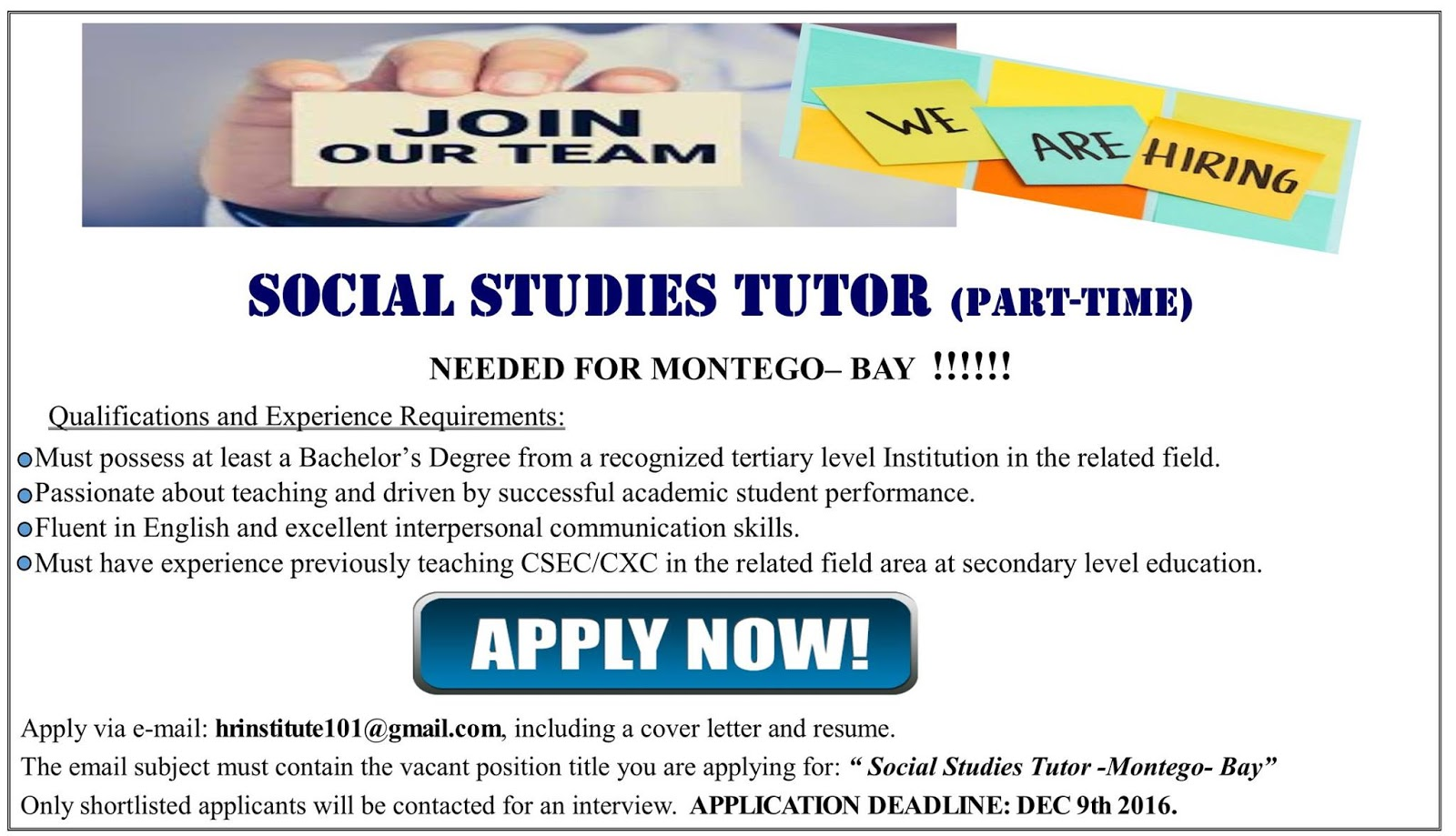 Jobs Postings Caribbean Social Stu s Tutor Part Time