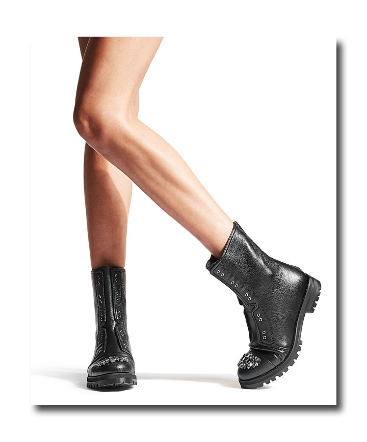 faea5b978cf Jimmy Choo Hatcher black grainy leather combat boots with crystal detail