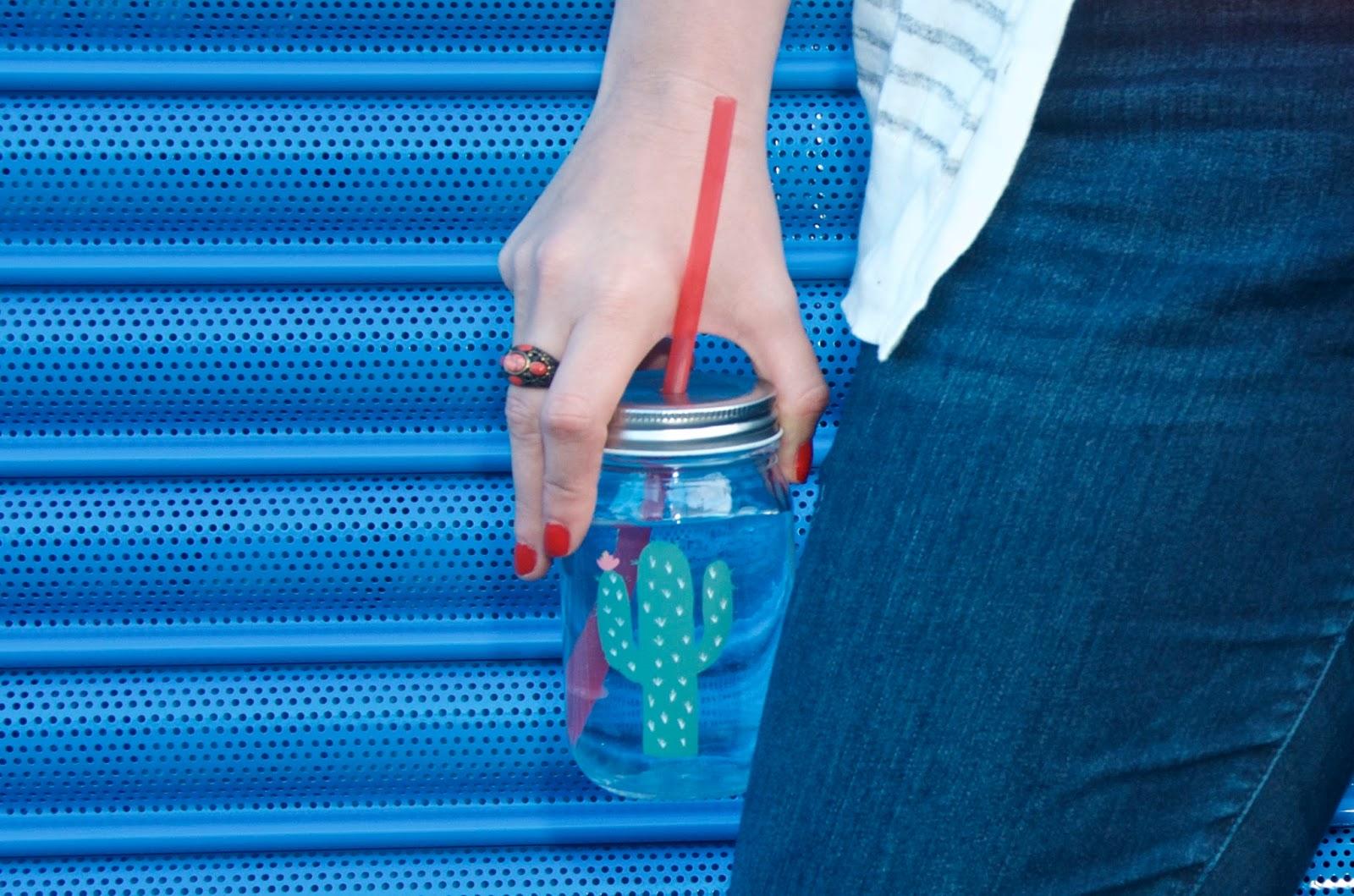 cactus mason jar glass