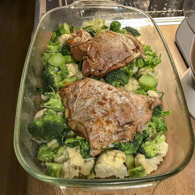 kycklinglårfile, blomkål, broccoli
