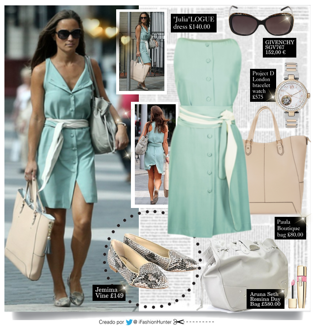 "GET THE LOOK OF PIPPA MIDDLETON   VESTIDO: ""Julia"" Logue London £140.00  CARDIGAN: Cashmere by Tania - ""Indi""  ZAPATOS:Jemima Vine Edie Python Print Flat Pumps as worn by Pippa Middleton £149  BOLSO 1: (izquierda) Paula Boutique  ""Stella"" Leather Shopper in cream £80.00  BOLSO 2: (derecha) Aruna Seth ""Romina Day Bag in Grey Leather £580.00  ANTEOJOS: Givenchy Sunglasses SGV767C 09X5 Black Leopard 767 152,00 €  RELOJ PULSERA: Project D London ladies' two colour bracelet watch £575"