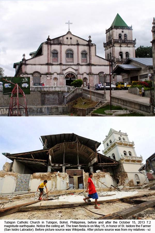 V Zubiri Dollman: Pictures of Tubigon Church, 7.2 Magnitude Earthquake in Bohol, October 15, 2013