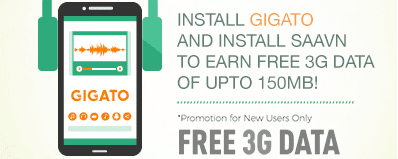 Expired) Gigato App Loot - Get 150 MB 3G Data Free for