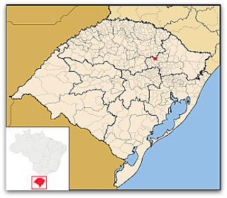 Cidade de Serafina Correa, no mapa do Rio Grande do Sul