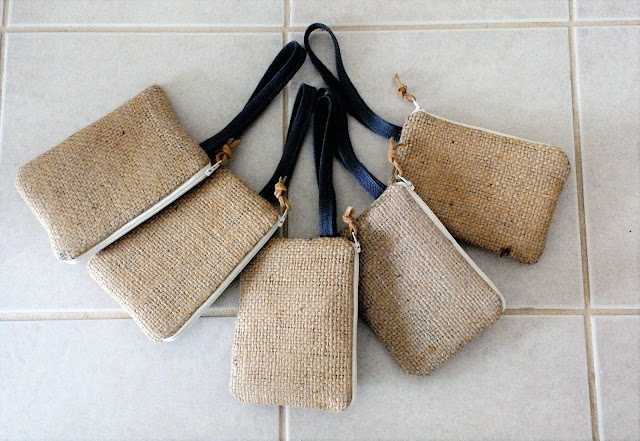 Burlap bridesmaid pouches - lina and vi