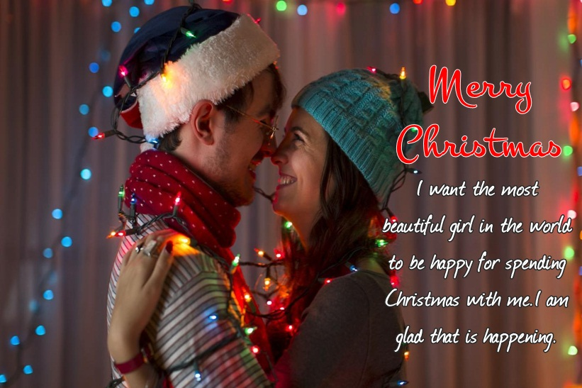 Christmas Love Messages with Lovely Couple Image