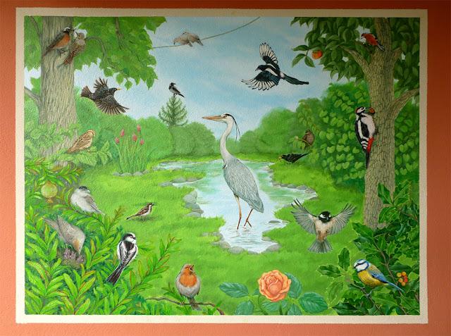 garden birds painting