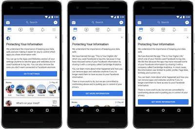3 versi notifikasi yang mengindikasikan kalau akun Facebook telah dipengarui ollh aplikasi  This Is Your Digital Life. Sumber : Facebok