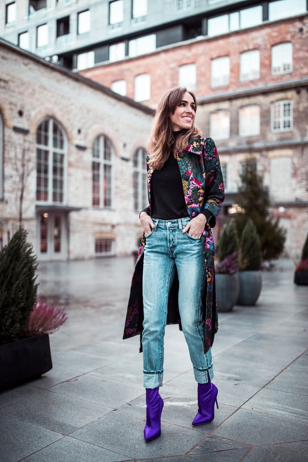 floral coat outfit street style